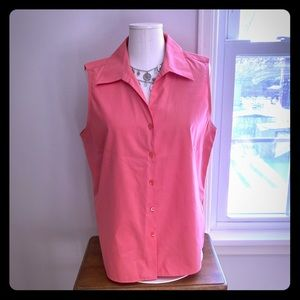 Talbots coral button down top